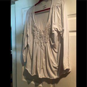 Lane Bryant White button down long sleeve blouse